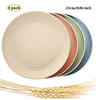 "Lightweight &Unbreakable Wheat Straw Plates 8.86"" 4 Pack, Non-Toxin Healthy Eco-Friendly Degradable Dishes, BPA free plates,Dishwasher Microwave Safe Plates,Reusable Plate for Fruit Snack Container."