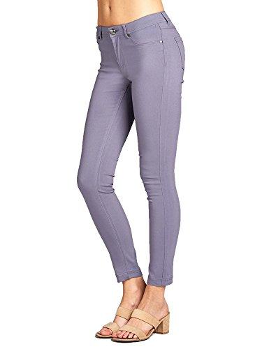 Emmalise Women's Basic Jean Look Jeggings Tights Spandex Skinny Leggings (Lavender, M)