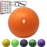 POWRX Slam Ball Palla Medica 5 kg - Ideale per Esercizi di »Functional Fitness«, potenziamento e tonificazione Muscolare - Contenuto in Sabbia ed Effetto Anti-Rimbalzo + PDF Workout (Arancione)