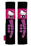 Hello Kitty KIT4055 1 juego de 2 almohadillas cinturón coche, para viajes, Rosa/Negro