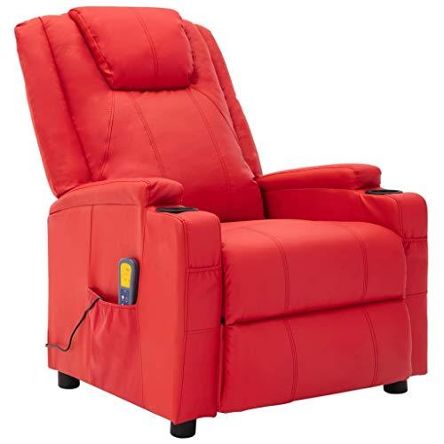 vidaXL Fauteuil de Massage Inclinable Fauteuil de Relaxation Electrique Salon Salle de Séjour Maison Intérieur Inclinaison Chauffage Rouge Similicuir