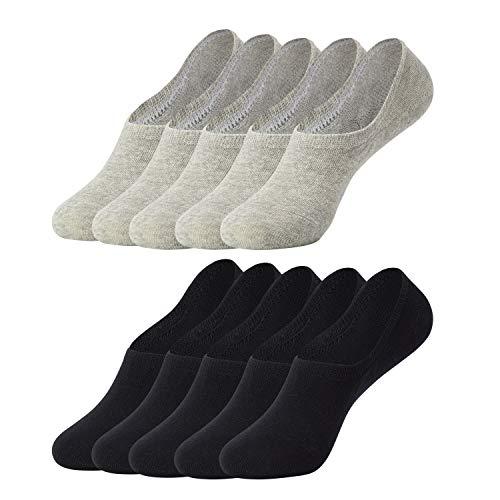 Falechay Sneaker Socken Damen Herren Füßlinge Unsichtbare 10 Paar Schwarz Grau 39-42