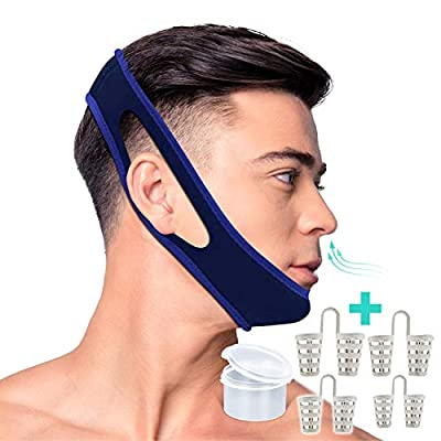 KS-HEALTH Anti Snoring Chin Strap and Snoring Solution Nose Vents-Adjustable Stop Snoring Sleep Aid for Men and Women-1 Chin Strap and Bonus 4 Set Nose Vents Snore Stopper