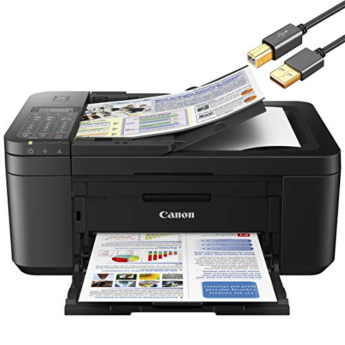 Canon PIXMA TR 45xx Series All-in-One Color Wireless Inkjet Printer Home Office - Black - Print, Scan, Copy, Fax - Auto 2-Sided Borderless Printing, 4800 x 1200 dpi - ORPHYER 10 Feet Printer Cable