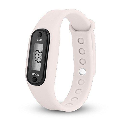 Schrittzähler Uhr Damen Ohne App und Handy Kalorienzähler Armband Damen Herren Kieselgel Uhren Sports Armband Digital Armbanduhr wojonifuiliy Run Step Walking Distance Watch (K)