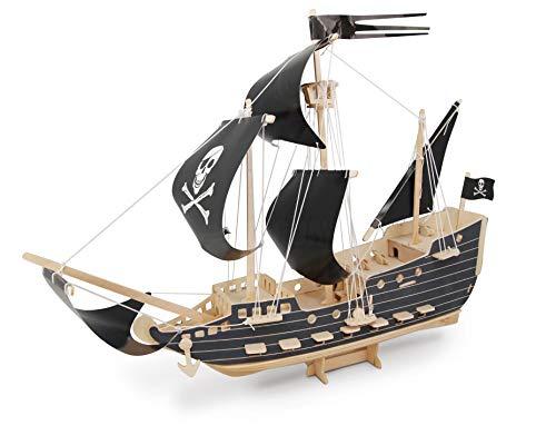 Quay- Pirate Ship Woodcraft Construction Kit FSC construcción, Color marrón (P217)