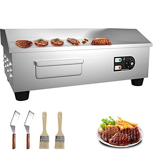 VEVOR Griglia Elettrica 3000 W Griglia di Contatto, Griglia da Cucina, Griglia per Barbecue con Controllo Termostatico Rivestimento Antiaderente Professionale Ideale per Arrostire Hamburger, Bistecca