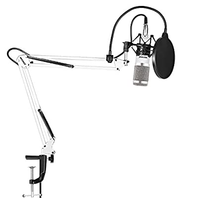 Neewer NW-800 Pro Studio Broadcasting Recording Condenser Mic Kit with NW-35 Mic Suspension Scissor Arm Stand with Shock Mount and Table Mounting Clamp Pop Filter(White and Silver)