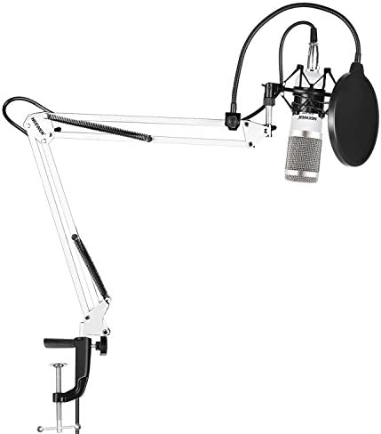 Neewer NW-800 Silver Professional Studio Broadcasting Recording Condenser Microphone & NW-35 Adjustable Recording Microphone Suspension Scissor Arm Stand with Shock Mount and Mounting Clamp Kit