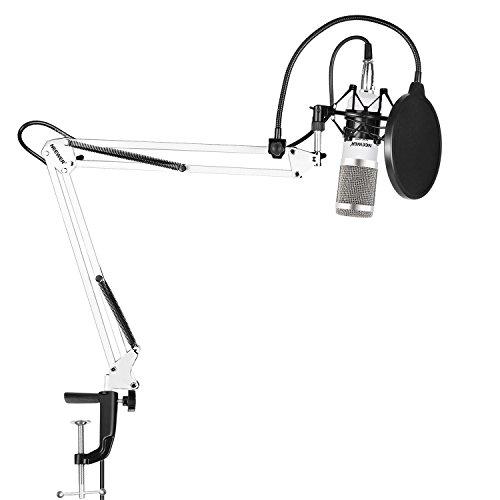 Neewer Set di Microfono a Condensatore Professionale da Studio,con NW-35 Stand Asta di Sospensione,Nero Supporto Anti-vibrazione,Serratura da Tavolo,Filtro Pop(Bianco Argento)