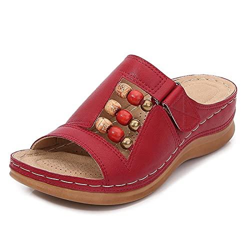 KovBexJa Sandalias De Mujer Retro con Cuentas Bohemias Pendiente De 5cm con Punta Abierta Zapatillas De Playa Romanas para Damas Rojo