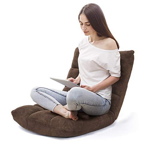 COSTWAY Bodenstuhl verstellbar, Bodensessel gepolstert, Bodenkissen mit Rückenlehne, Meditationsstuhl Fensterstuhl (braun)