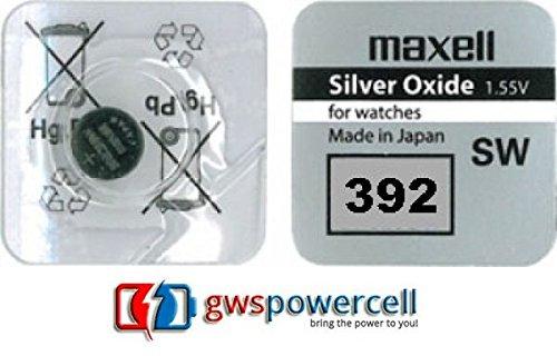 MAXELL ® powerCell gWS-pile bouton uHRENZELLEN montres gamme/301/303/314/315/317/319/321/325/335/337/344/346/348/357/361/362/363/364/365/366/371/370/372/373/376/377/379/380/381/384 et 386/389/390/391/392/394/395/395/399/396 - 392 - 1x