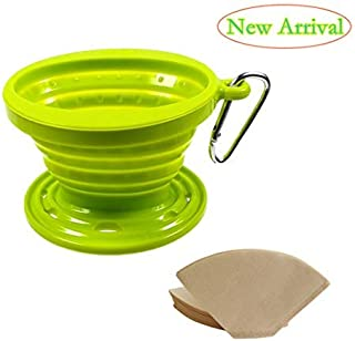 Kuke Reusable Silicone Coffee Dripper with Paper Filters ,Collapsible Coffee Filter Holder, Food Grade Coffee Filter Cone (Green)