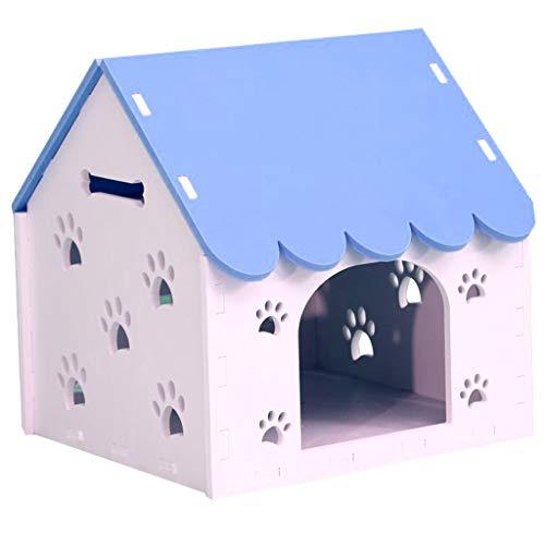 JOYZD Zwinger Hundehütten Zwingerabdeckungen Wetterfeste Hundehütte Katzenstreu, Haustierbedarf innen und außen Hundehütte, Hundehütte waschbar Hundehütte (Color : Blue, Size : 40 * 37 * 42cm)
