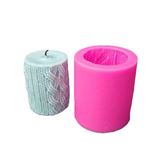 Hangarone 3D Strick Wolle Zylinder Silikon Kerzenform, Linienform DIY Craft Kerzenherstellung Form, Hausgemachte Fondant Kuchen Backformen Tablett Schokolade Muffin Backform