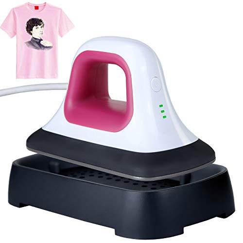 Blzk Piccola stampante a trasferimento termico, compatta, mini macchina portatile per Heat Press 18 x 9,8 cm, macchina a pressione Easy Press multifunzione (rosa)