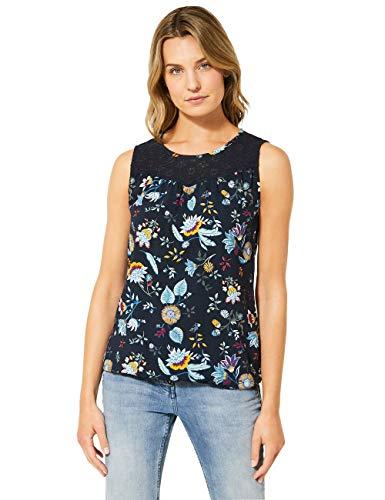 Cecil Damen 342147 TOS Print Lace Top Bluse, deep Blue, X-Large