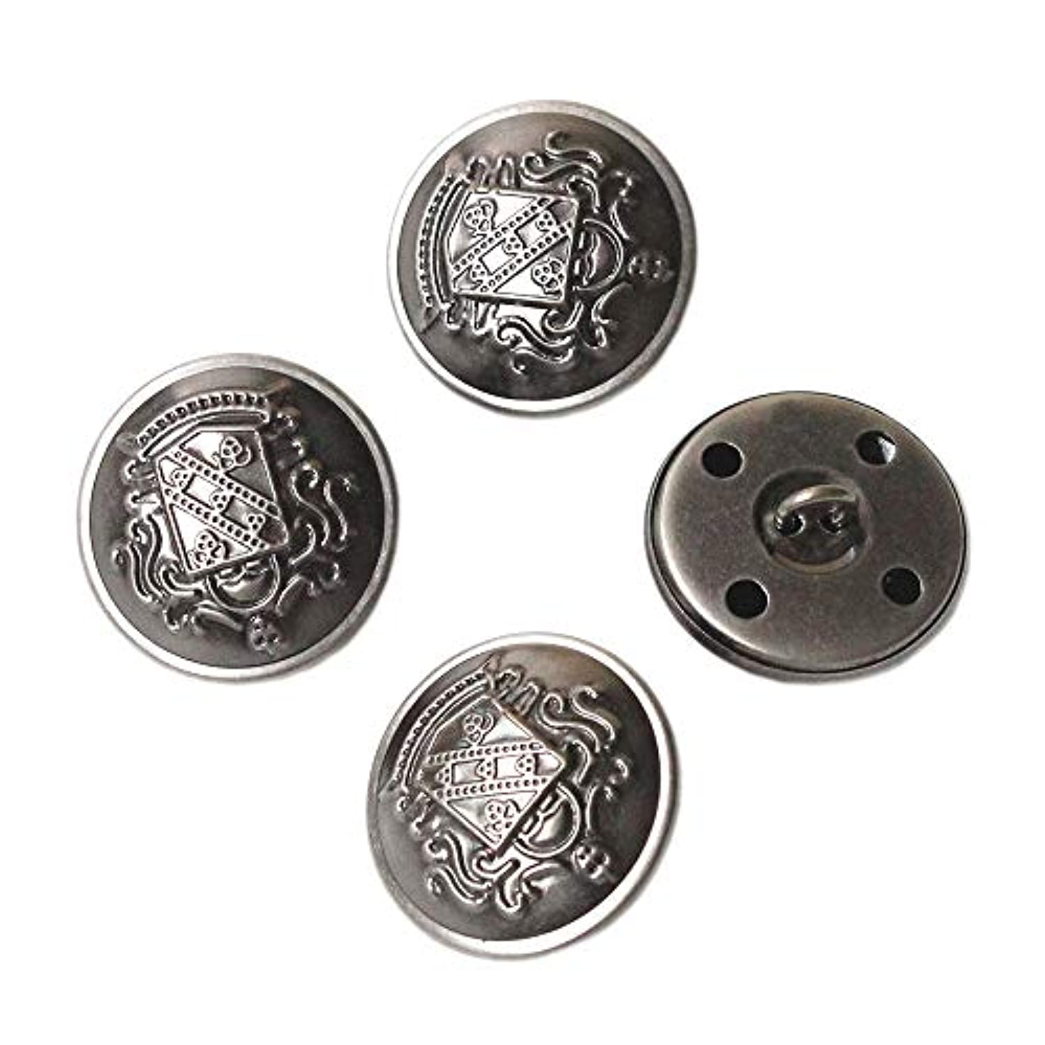 YaHoGa 10PCS 1 Inch (25mm) Antique Metal Buttons with Shank for Blazers,Suits,Jackets (Antique Silver)