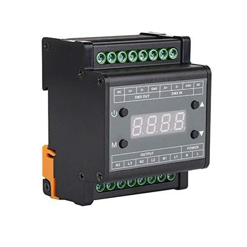 Noblik Regulador de Intensidad LED DMX302 DMX Triac Regulador de Intensidad Controlador de Brillo LED 50Hz / 60Hz 3 Canales 1A / Canal
