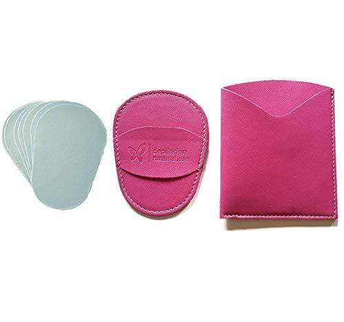 Guante depilatorio corporal natural de color rosa, con estuche y 10 láminas de silicio. Guantes para eliminar el vello y las células muertas dejando tu piel totalmente suave y perfecta.