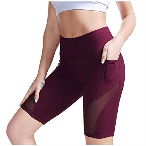 DFDLNL Leggings para Correr, Pantalones Cortos de Motociclista para Mujeres, Cintura Alta, Control de Abdomen, Entrenamiento, Pantalones Cortos de Yoga para Correr, Mallas de Gimnasio XS Wine