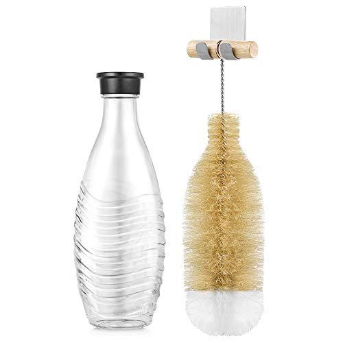 ecooe Flaschenbürste mit Wandhalterung für SodaStream Glaskaraffe und mehr Trinkflaschen/Reinigungsbürste für Kratzfreie & Mühelose Reinigung