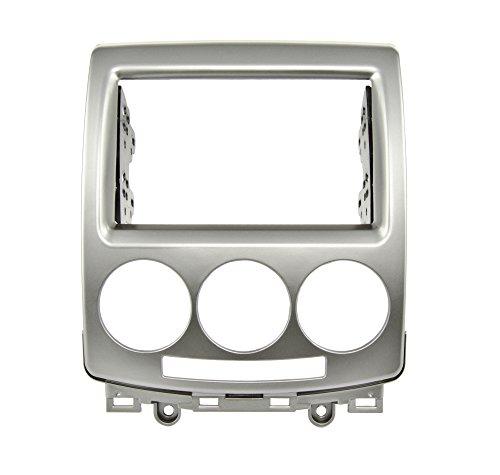 Watermark Vertriebs GmbH & Co. KG Doppel DIN Autoradio Radioblende für Mazda 5 ab 2005-2010, Silber