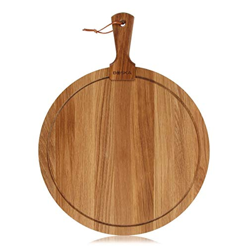 Boska Holland Life Collection Friends Round Wood Cheese Board with Handle, Large