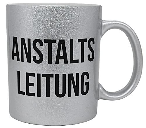 vanVerden Glitzer Tasse mit Spruch - Anstaltsleitung - lustige Tasse für Chef - beidseitig Bedruckt - Geschenk Idee Kaffeetasse, Tassenfarbe:Glitzer Silber
