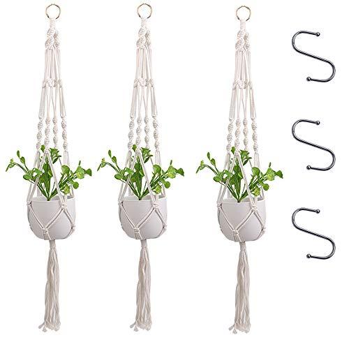 THETAG Makramee Pflanze Kleiderbügel, Indoor Outdoor Handgemachte Baumwolle Seil Hängen Pflanzgefäße Blumentopf Halter Ständer Set mit 3 Hängenden Haken (6 Stück)