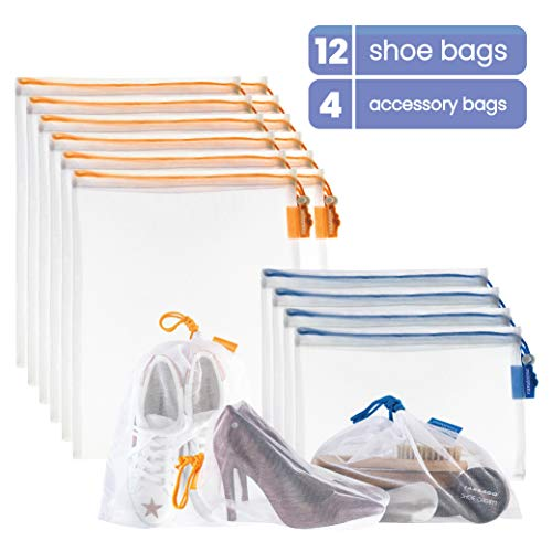 VANDOONA Set of 16 Mesh Shoe Bags – Shoe Storage Bag, Accessories Bag for Travel, Home Organization, Sports, Outdoors, Gym. Transparent Color-Coded Drawstrings by Size S & M. (12 Medium, 4 Small)