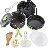 YSCYLY Picnic Utensilios De Cocina Set,9 PCS para 1-2 Personas Alumina Pot Pan Set,Sin Toxinas, Plegables Y Ligeros, Ideal para Viajes, Festivales, Senderismo