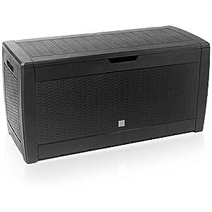 Deuba Baúl de almacenaje Negro Cofre con Capacidad de 310L arcón Banco Almacenamiento Polipropileno contenedor de jardín
