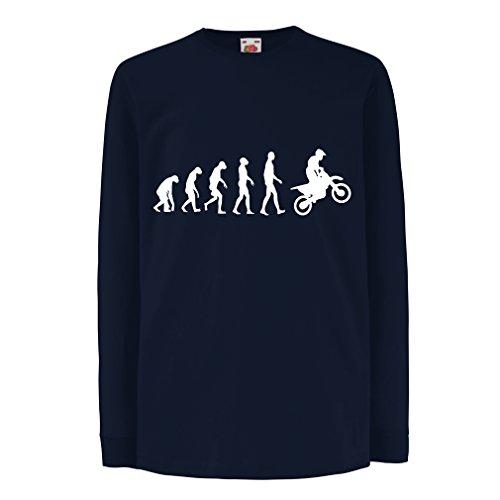 lepni.me Camiseta para Niños Evolución del Motocross Equipo de Moto Ropa de Carreras Todoterreno (12-13 Years Azul Blanco)