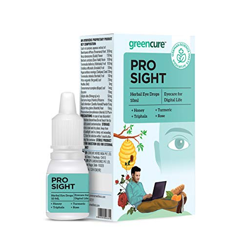Green Cure Prosight Herbal Eye Drops with Honey, Turmeric, Triphala & Rose, Eye Care for Digital Life, Relieves Dryness, Strain & Irritation, German Science with Ayurveda, AYUSH Ministry Certified - 10ml