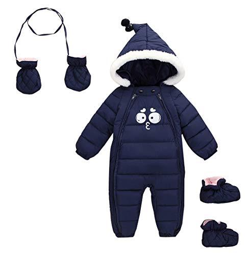 AUBIG Baby Winter Overall Mit Kapuze Baby Jungen Mädchen Schneeanzug mit Schuhe und Handschuhe Marine 0-6 Monate