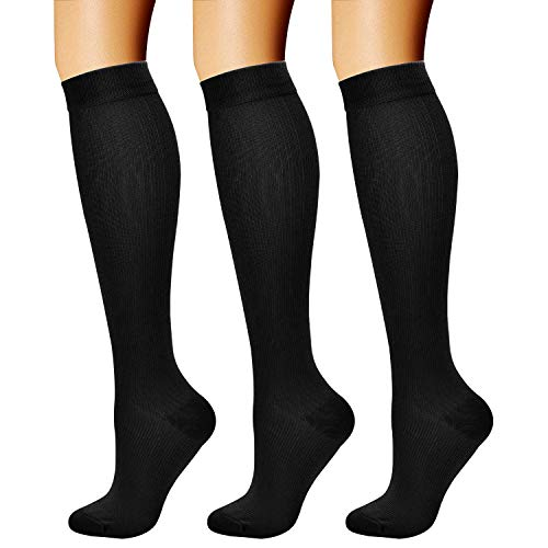 CHARMKING Compression Socks (3 Pairs) 15-20 mmHg is Best Athletic for Women & Men, Running, Flight Travel, Crossfit, Cycling, Pregnant - Boost Performance, Flexibility, Durability (L/XL, Black)