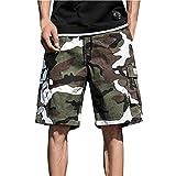 Shorts Bermudas Verano Hombre con Bolsillos de Informales Moda de Camuflaje,2021 Nuevo Pantalones Cortos Bermudas de Hombre Pantalones Cortos Hombre de Cinco Puntos de Cómodo Casual