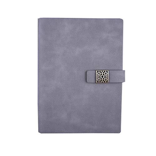 LCJQ Cuadernos de redacción Cuadernos Diario Diario Forrado de Cuero magnética Relleno de Papel Bloc de Notas for los Estudiantes universitarios Suministros Escuela Hogar Papel (Color : Gris)
