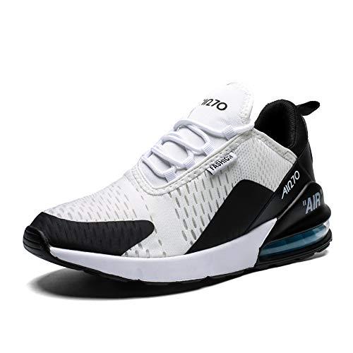 Uomo Scarpe da Ginnastica Corsa Sportive Traspirante Casual All'Aperto Trekking Fitness Running Antiscivolo Leggero Sneakers(270-N/Bianco,44EU)