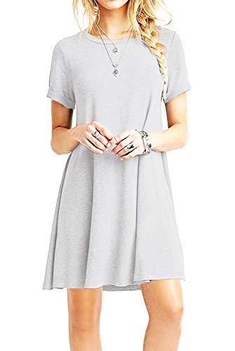YOUCHAN Kleid Damen Sommerkleid Freizeitkleid Shirtkleid T-Shirt Bluse Tunika Kurzarm Leger Langes Locker Kleider (Hellgrau, S)