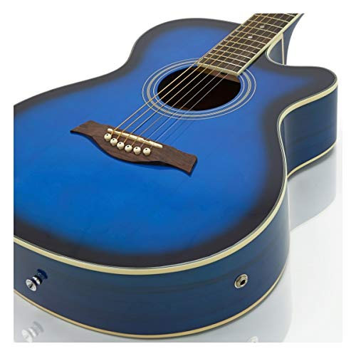 Single Cutaway Electro Acoustic Guitar + 15W Amp Pack, Blue