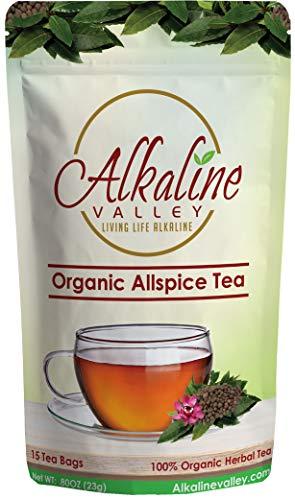 Allspice Tea Organic - 100% Alkaline - 15 Unbleached/Chemical-Free Tea bags - Caffeine-Free, No GMO