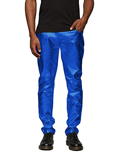 COOFANDY Mens Metallic Shiny Jeans Christmas Party Dance Disco Nightclub Pants Straight Leg Trousers