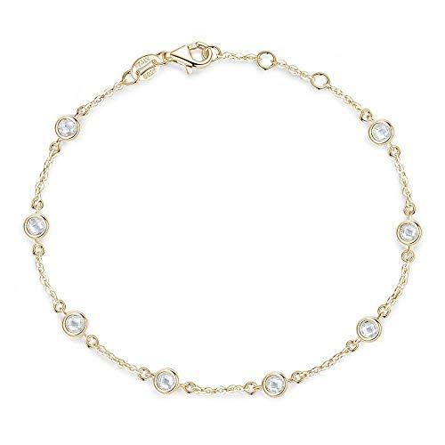 Liuboo Pulsera de Mujer Plata de Ley 925 Pulsera de Mujer Transparente Color Platino Charm Charm Jewelry Give Girlfriend Gift de cumpleaños-Color Oro 18K_Los 19CM