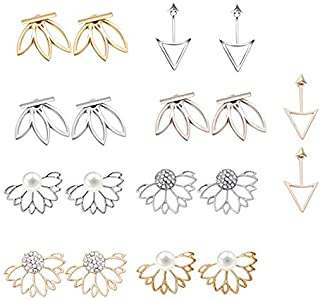 Mydio 9 أزواج من السترات الأذن Stud Lotus Flower Earrings بسيطة أنيقة مجموعة أقراط للنساء والفتيات لمجموعة الأذن السينيسية...