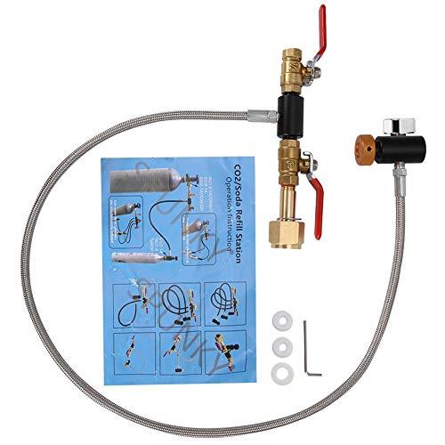 MAGT Sodastream Befüllen CO2-Nachfülladapter, G1/2 CGA-320 CO2-Nachfülladapter mit Schlauch, CO2-Nachfüllanschluss zum Befüllen des Sodastream-Tanks(36 Zoll Mit Messgerät)