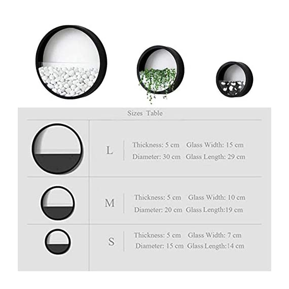 ZEETOON 3 Pack Set Modern Wall Planters Succulent Planter Circle Metal Flower Pot Indoor Air Plant Vertical Container Hanging Vase Home Decoration Size S,M,L Black, with 3 Artificial Succulent Plants 7 MATERIAL: Stabilized iron alloy metal with powder coating ensures long lasting color and withstands extreme weather conditions. Tempered and limpid glass feasts your eyes, add visual intrigue to this wall hanging. Do not rust and no unpleasant smell. PLANTS: Great for succulent plants, air plant, mini cactus, faux plants, artificial plant. It also works for mint, herbs, basil, ivy, flowers, climbing plants, evergreens. The possibilities are only limited by your imagination; display them in a wall hook plant holder, a wall mount, a geometric glass vase, or even in a live wreath. They can even make the perfect desk centerpiece for your office. IDEAL: ZEETOON Wall Vase Perfect for displaying your favorite hanging plants, this wall holder is a basic piece that will fit perfectly anywhere. Outdoor or indoor, kitchen, bedroom, great garden shed decor, farmhouse style wall decor, front entry way, or mounting on bathroom.