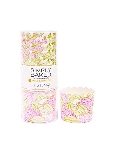Simply Baked Large 5 Ounce Disposable Paper Baking, Party, Treat, Candy, Cupcake, Muffin and Snack Cups, 20-Pack, Pink Floral